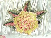 "3D Floral Applique Yellow Pink Embroidered Flower 5"" (GB522)"