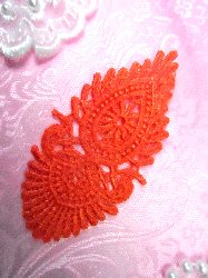 GB53 Orange Victorian Shell Embroidered Applique 3.75""