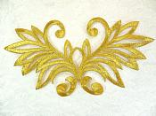 "Embroidered Applique Gold Metallic Designer Scroll Motif 7"" (GB534)"