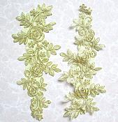 """Embroidered Appliques Light Metallic Gold Floral Mirror Pair Fabulous Detail 14"""" (GB538X)"""