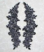 "Embroidered Appliques Black Silver Floral Mirror Pair Fabulous Detail 13"" (GB539X)"
