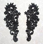"Embroidered Appliques Black Floral Mirror Pair Fabulous Detail 9.75"" (GB540X)"