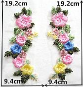 "Embroidered Appliques Pastel Floral Mirror Pair Fabulous Detail 8"" (GB541X)"