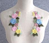 """Embroidered Appliques Pastel Floral Mirror Pair Fabulous Detail 6.75"""" (GB542X)"""
