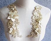 "3D Embroidered Silk Rhinestone Appliques Champagne Floral Mirror Pair 8"" (GB543X)"