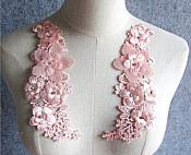 """REDUCED 3D Embroidered Silk Rhinestone Appliques Pink Floral Mirror Pair 8"""" RMGB543X"""