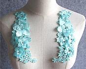 "3D Embroidered Silk Rhinestone Appliques Teal Floral Mirror Pair 8"" (GB543X)"