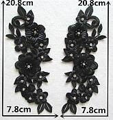 "3D Embroidered Silk Rhinestone Appliques Black Floral Mirror Pair 8"" (GB544X)"