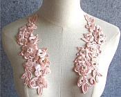 """3D Embroidered Silk Rhinestone Appliques Peach Floral Mirror Pair 8"""" (GB544X)"""