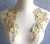 "3D Embroidered Silk Appliques Champagne Floral Mirror Pair With Pearls 8.25"" (GB545X)"