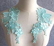 "3D Embroidered Silk Appliques Light Turquoise Floral Mirror Pair With Pearls 8.25"" (GB545X)"