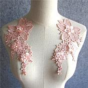 "3D Embroidered Silk Appliques Pink Floral Mirror Pair With Pearls 8.25"" (GB545X)"