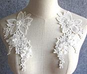 "3D Embroidered Silk Appliques White Floral Mirror Pair With Pearls 8.25"" (GB545X)"