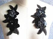 "3D Embroidered Silk Appliques Black Floral Mirror Pair With Rhinestones 6.5"" (GB546X)"