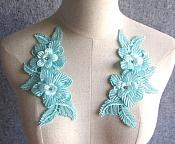 "3D Embroidered Silk Appliques Light Turquoise Floral Mirror Pair With Rhinestones 6.5"" (GB546X)"