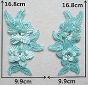 """3D Embroidered Silk Appliques Light Turquoise Floral Mirror Pair With Rhinestones 6.5"""" (GB546X)"""