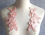 "3D Embroidered Silk Appliques Pink Floral Mirror Pair With Rhinestones 6.5"" (GB546X)"