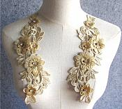 "3D Embroidered Silk Appliques Champagne Floral Mirror Pair With Rhinestones 9"" (GB547X)"