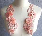 "3D Embroidered Silk Appliques Peach Floral Mirror Pair With Rhinestones 9"" (GB547X)"