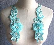 "3D Embroidered Silk Appliques Teal Floral Mirror Pair With Rhinestones And Pearls 9.5"" (GB549X)"