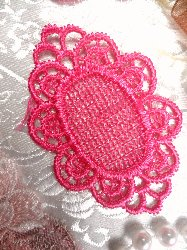 "GB55 Fuchsia Victorian Oval Net Embroidered Applique 2.25"""