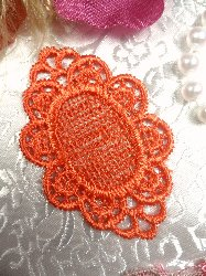 GB55 Orange Victorian Oval Net Embroidered Applique 2.25""