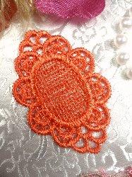 "GB55 Orange Victorian Oval Net Embroidered Applique 2.25"""