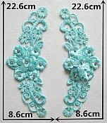 """3D Embroidered Silk Appliques Teal Floral Mirror Pair With Rhinestones 8.75"""" (GB550X)"""