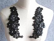"3D Embroidered Silk Appliques Black Floral Mirror Pair With Rhinestones 7.5"" (GB551X)"