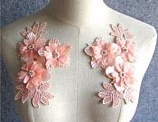 "3D Embroidered Silk Appliques Peach Pink Floral Mirror Pair With Pearls and Rhinestones 6.5"" (GB552X)"