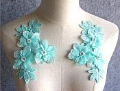 "3D Embroidered Silk Appliques Seafoam Floral Mirror Pair With Pearls and Rhinestones 6.5"" (GB552X)"