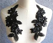 "3D Embroidered Silk Appliques Black Floral Mirror Pair With Rhinestones 8.75"" (GB553X)"