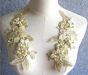 "3D Embroidered Silk Appliques Champagne Floral Mirror Pair With Rhinestones 8.75"" (GB553X)"