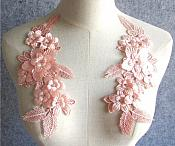 "3D Embroidered Silk Appliques Pink Floral Mirror Pair With Rhinestones 8.75"" (GB553X)"