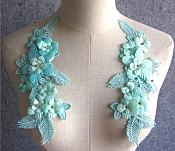"3D Embroidered Silk Appliques Teal Floral Mirror Pair With Rhinestones 8.75"" (GB553X)"