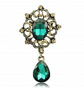 Bridal Brooch Crystal Rhinestone Green Gold Metal Pin (GB554)