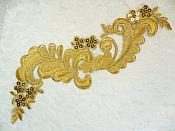 "Embroidered Applique Gold Metallic Designer Scroll Sequin Motif 9.25"" (GB556)"