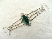 """Rhinestone Embellishment Green Silver 3.5"""" (GB558)"""