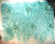 "(Set of Two) Pieces of Embroidered Floral Venise Lace Fabric With Pearls 16"" (GB559)"