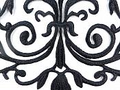 GB56 Embroidered Applique Black Iron On Designer Scroll Patch   6.5""