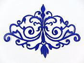 GB56 Embroidered Applique Blue Iron On Designer Scroll Patch   6.5""