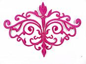 """GB56 Embroidered Applique Fuchsia Iron On Designer Scroll Patch   6.5"""""""