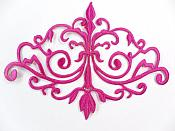 GB56 Embroidered Applique Fuchsia Iron On Designer Scroll Patch   6.5""