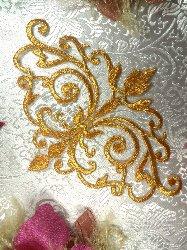 "GB56 Gold Metallic Iron On Designer Embroidered Applique 6.5"""