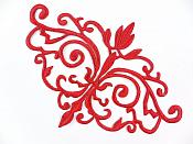 GB56 Embroidered Applique Red Iron On Designer Scroll Patch   6.5""