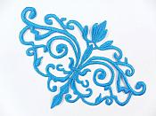 GB56 Embroidered Applique Turquoise Iron On Designer Scroll Patch   6.5""