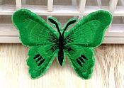 Embroidered Butterfly Applique Green Black (GB562)
