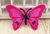 Embroidered Butterfly Applique Hot Pink Black (GB562)