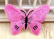 Embroidered Butterfly Applique Light Pink Black (GB562)