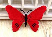 Embroidered Butterfly Applique Red Black (GB562)